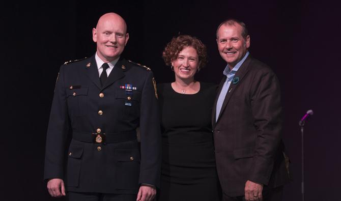 Chief Constable Adam Palmer, Jennifer Duff, Regional Director and Health Care Leader for Providence Health Care and Vancouver Coastal Health and Dick Vollet, President and CEO of St. Paul's Foundation.