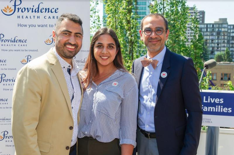 Dr. Sean Virani (R), Head of Cardiology at PHC, with Marc Bains (L) and his wife, Jessica.
