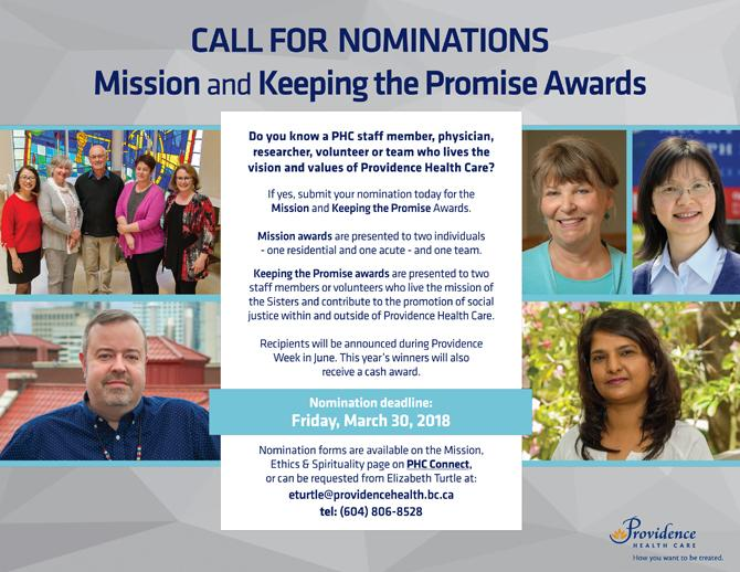 Nominations are being sought for both Mission Awards and Keeping the Promise Awards.