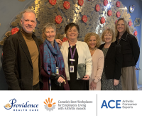 Award presentation to Providence Health Care (from left to right): Kelly Lendvoy, Vice President, ACE; Alison Hoens, Physiotherapy Research, Education & Practice Coordinator, PHC; Sandy Coughlin, Director, Occupational Health & Safety, PHC; Terri McGinley, Health Authorities EDMP Administrator, PHC; Gabriele Yoneda, Professional Practice Leader, Physiotherapy; Cheryl Koehn, President, ACE.