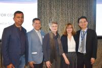 L - R: Aslam Anis (CHÉOS), Christopher De Bono (PHC), Karin Humphries (ICVHealth/CHÉOS), Tania Bubela (SFU) and Don Sin (HLI/PHCRI) pose for a group photo at Research Day 2019.