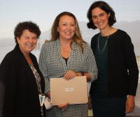 Caption: (l to r) Leanne Heppell, VP, Patient Experience, Acute Care & Chief of Professional Practice & Nursing, award winner Cindy Elliott, and Fiona Dalton, President and CEO, at the PHC Professional Practice Awards on May 15.