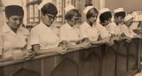Student nurses in the chapel at St. Paul's Hospital, 1969.