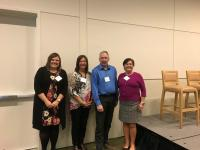 The panel at the Better Workplace Conference (L-R): Sandra Koppert from the Mental Health Commission of Canada (moderator); Karen Baillie, CEO of Menno Place in Abbotsford; John Fitzgerald, Director of OH&S, Island Health; and Sandy Coughlin, Director of OH&S, PHC.