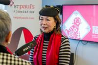 Pancy Lau speaking to news outlets at the 2018 Scotiabank Feast of Fortune Press Conference.